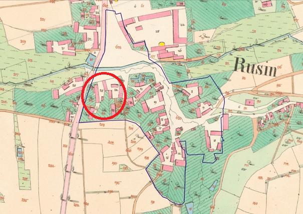 Stabilní katastr Rusin 1841 se zaznačením Kubrova statku